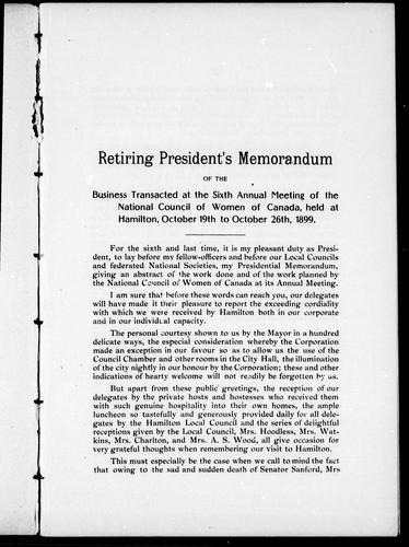 Download President's memorandum of the business transacted at the sixth annual meeting of the National Council of Women of Canada, held at Hamilton, October 19th to October 26th, 1899