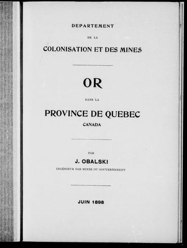 Or dans la province de Québec, Canada