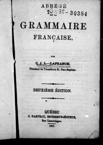 Download Abrégé de la grammaire française