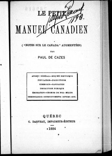 Download Le petit manuel canadien