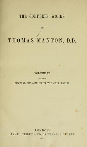 Download The complete works of Thomas Manton