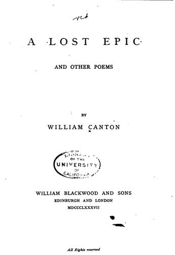 A Lost Epic: And Other Poems