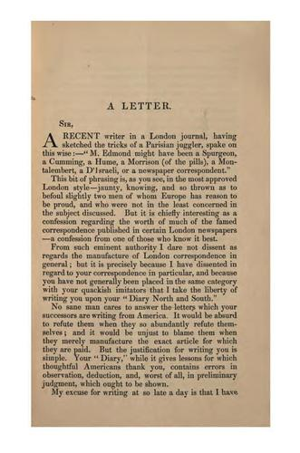 """A Letter to William Howard Russell, LL.D. on Passages in His """"Diary North and South"""""""