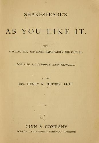 Shakespeare's As you like it.