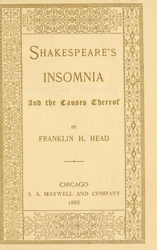 Download Shakespeare's insomnia and the causes thereof