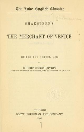 Shakespere's The merchant of Venice by William Shakespeare