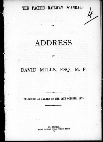 The Pacific Railway scandal by Mills, David