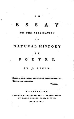 An Essay on the Application of Natural History to Poetry