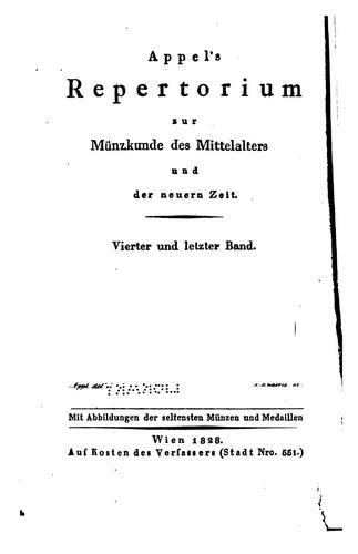 Appel's Repertorium zur Münzkunde des Mittelalters und der neueren Zeit
