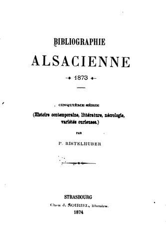 Bibliographie alsacienne