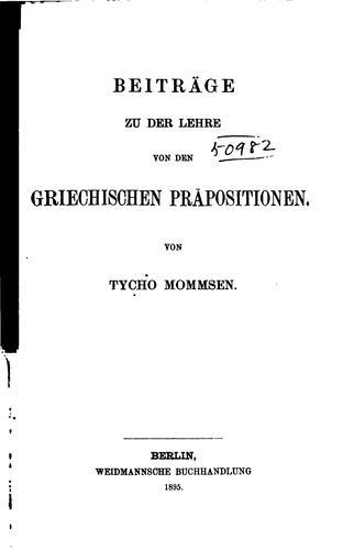 Beiträge zu der Lehre von den griechischen Präpositionen
