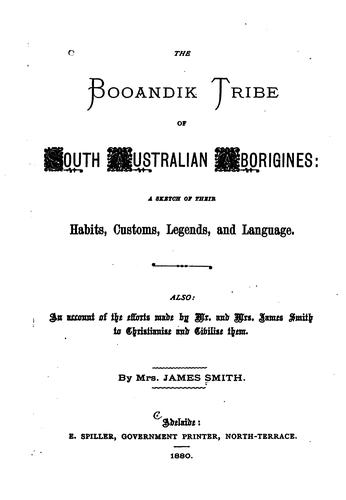 The Booandik Tribe of South Australian Aborigines