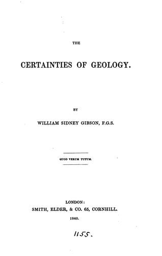 The certainties of geology