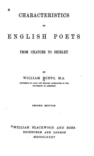 Characteristics of English Poets, from Chaucer to Shirley