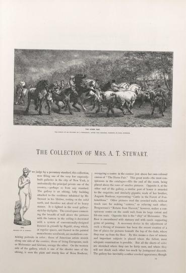 """Page 23 from """"Art Treasures of America,"""" titled """"The Collection of Mrs. A.T. Stewart."""" An etching by J. Veyrassat is pictured at the top, a reproduction of the painting """"The Horse Fair"""" by Rosa Bonheur."""