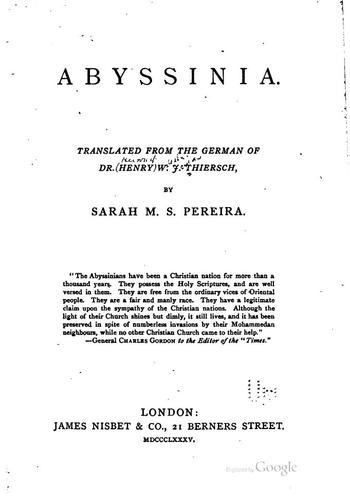 Abyssinia: Tr. from the German of Dr. Henry W.J. Thiersch by Heinrich Wilhelm Josias Thiersch