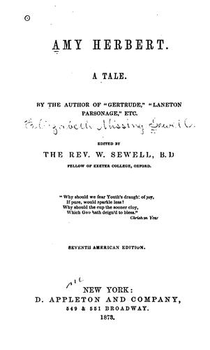 Amy Herbert: A Tale by Elizabeth Missing Sewell