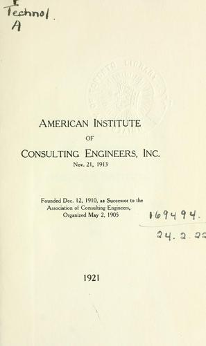 Constitution and by-laws and list of members by American Institute of Consulting Engineers