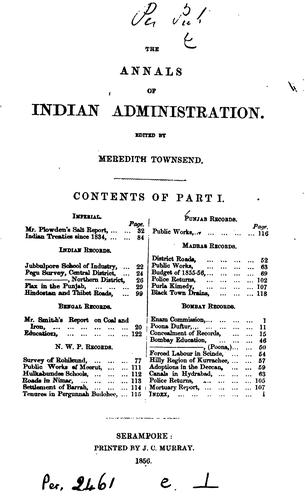 The Annals of Indian Administration by Meredith White Townsend