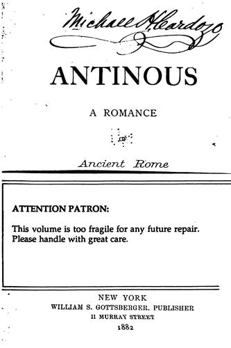 Antinous: A Romance of Ancient Rome by Adolf Hausrath