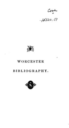 Bibliography of Worcester History by Nathaniel Paine