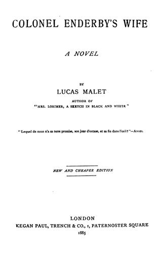Colonel Enderby's Wife: A Novel by Lucas Malet
